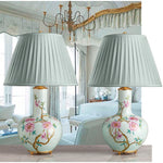 F096  A Very Pretty Pair Of Contemporary Chinese Famille Rose, Bottle Shaped Lamps