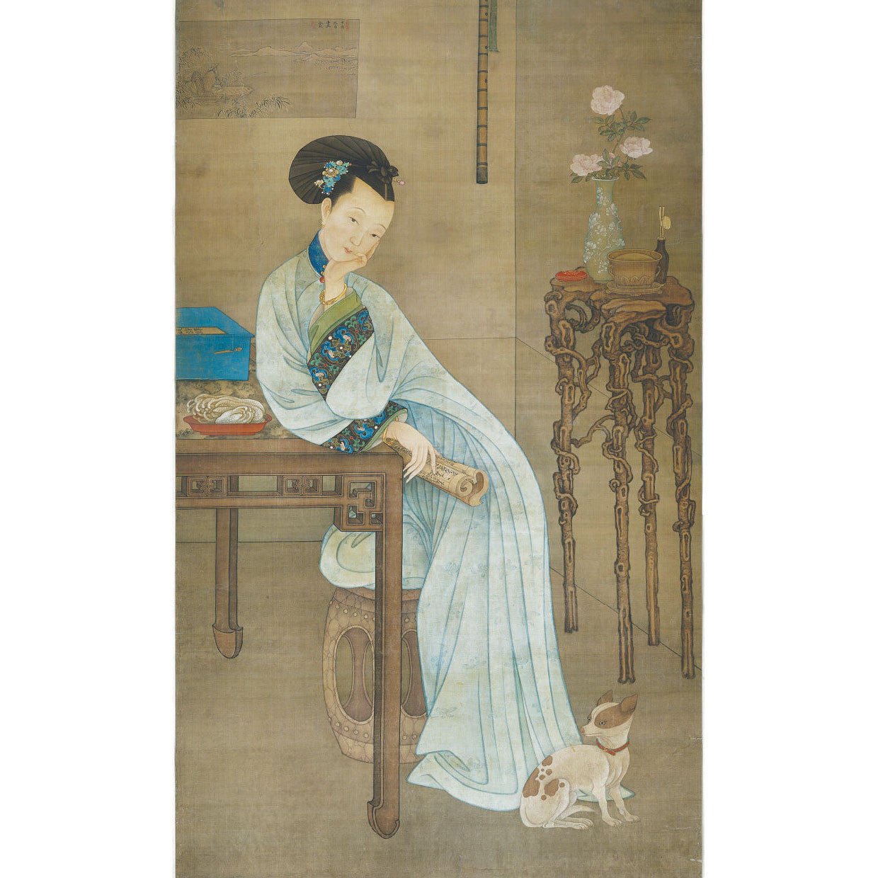 "Detail illustration taken from an 18th century Chinese scroll painting, a ""Long Eliza"" at ease""."