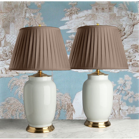 G010  A Very Large Pair of Contemporary Chinese Elephant-Leg Shaped Celadon Lamps