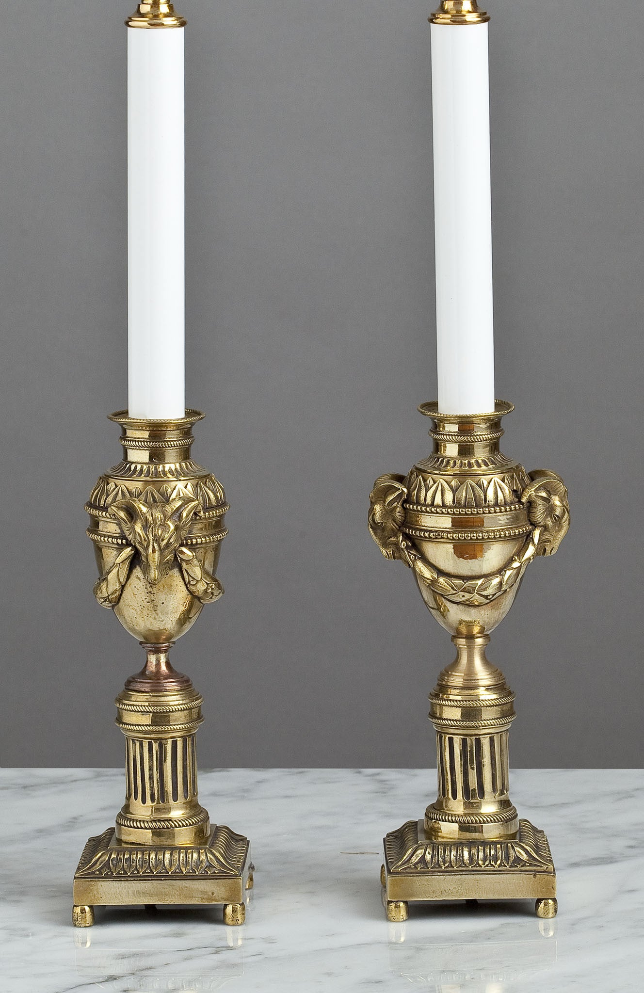 G012  A Fine Pair of French 19th Century Candle Stick Accent Lamps - Circa 1860