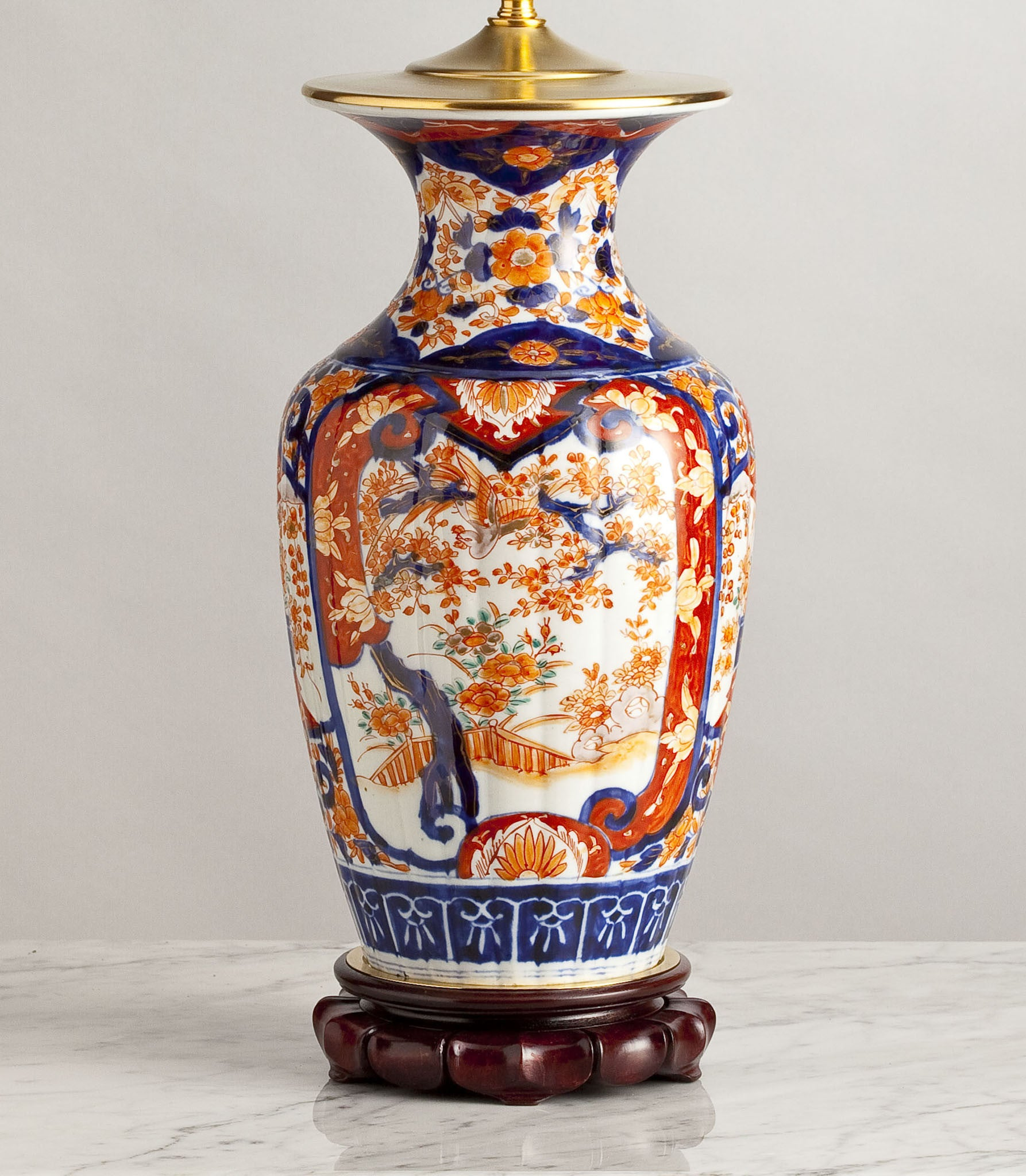 G017  A Tall Japanese Imari Lamp Decorated With Phoenix and Maple Trees - Circa 1880