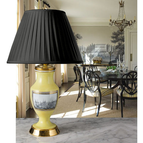 G032 A Pretty French Classically Understated Yellow Opaline Glass Lamp - Circa 1810