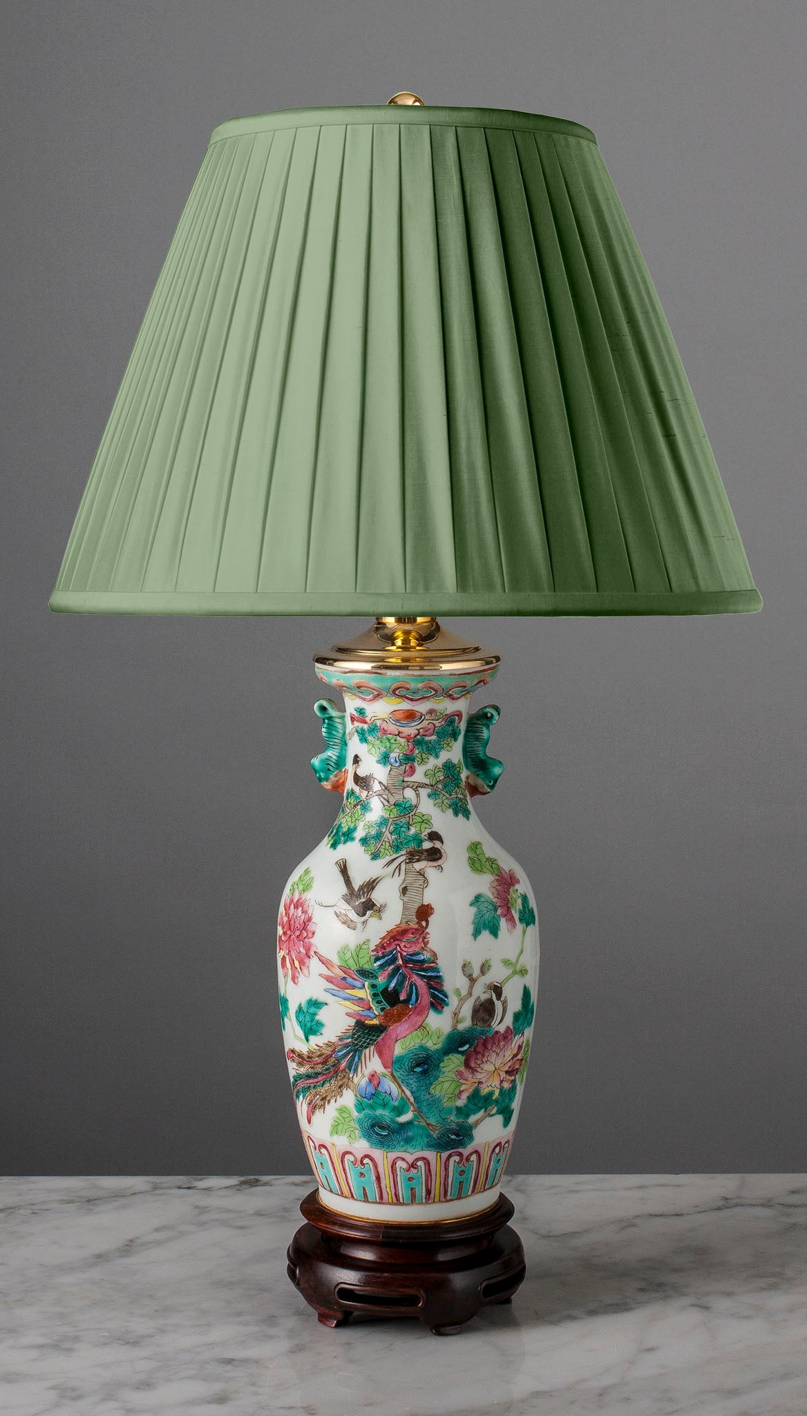 "G038   A 19th Century Chinese Lamp ""Birds Paying Homage To The Phoenix"" - Circa 1880"