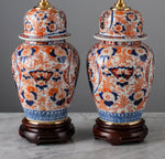 G043 A Decorative Pair of 19th Century Japanese Jar Form Imari Lamps - Circa 1880