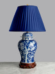 "G047 A Large Chinese Jar Shaped Blue and White Lamp, ""Cracked Ice"" - Circa 1870"