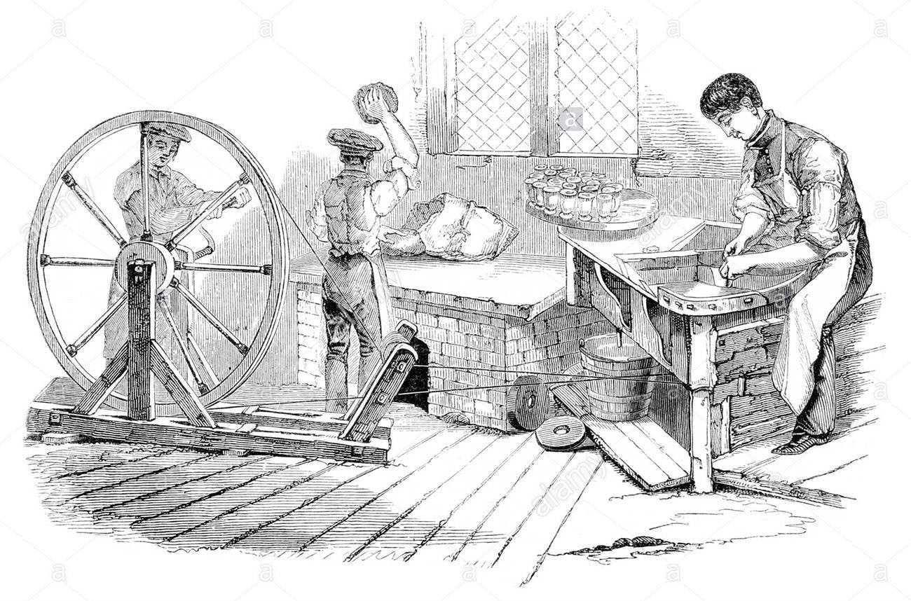 18th century engraving of the English potters work shop.