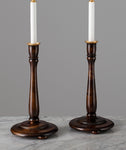 G050 A Tall Pair Of English Arts and Crafts Maple Wood Candlestick Lamps - Circa 1910