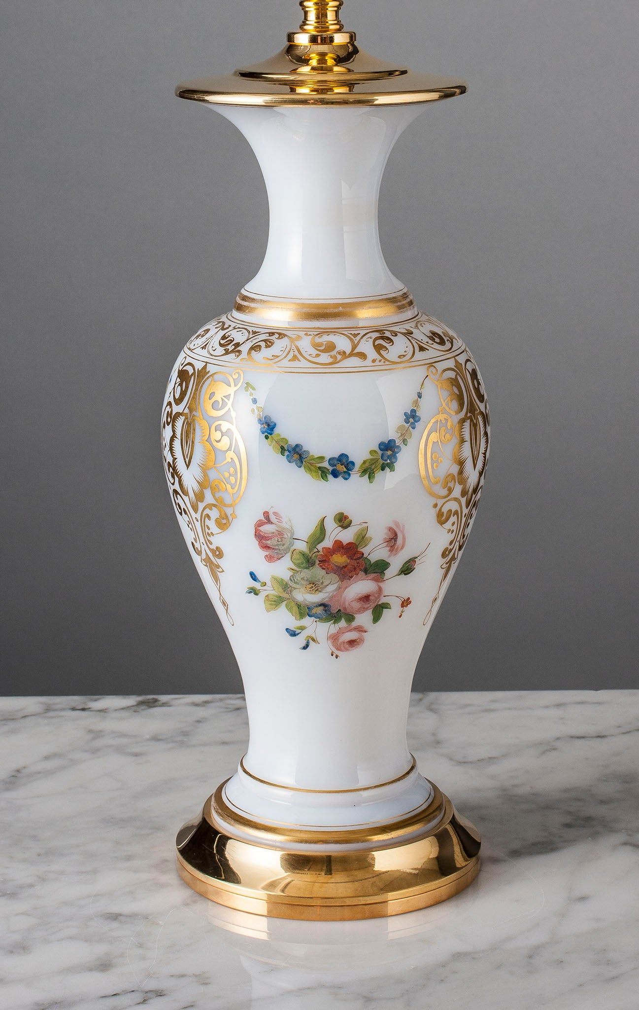 G051 A Very Pretty French Opaline Glass Lamp Of Neo Classic Style - Circa 1880