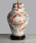 G056 A Large 19th Century, Very Pretty Japanese Arita Jar Shaped Lamp - Circa 1890