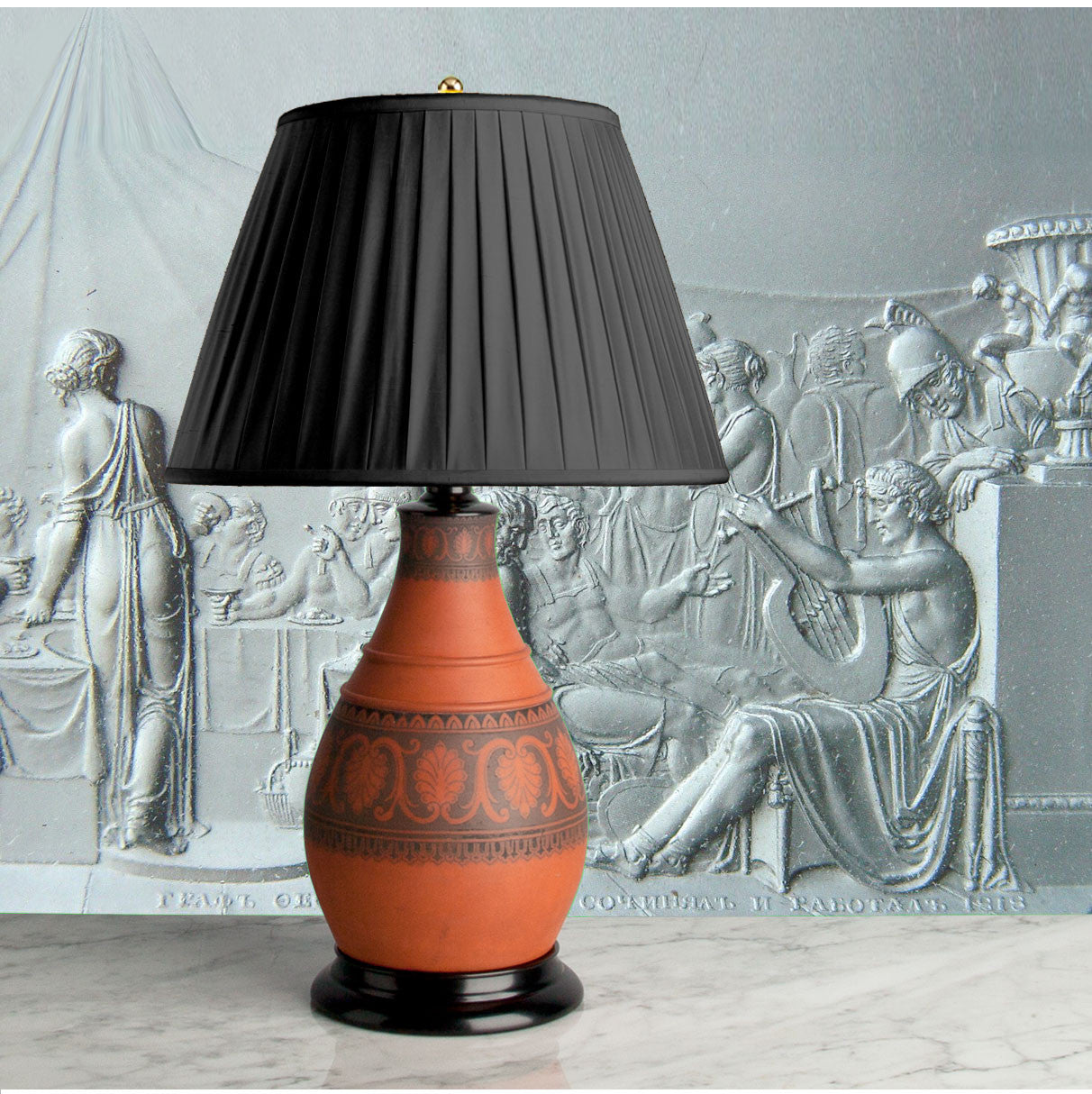 G074   A Handsome 19th Century English, Davenport Greek Revival Lamp - Circa 1870