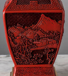 G080 A Finely Detailed Vintage Chinese Red Lacquer Lamp -Circa 1950