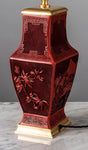 G080 A Finely Detailed Vintage Chinese Red Lacqer Lamp In Fang Hu Shape - Circa 1950