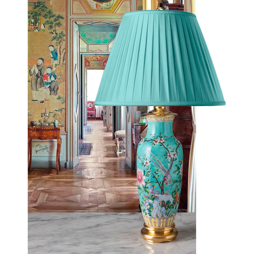 G084 An Ultra Pretty Bright Turquoise Decorative Chinese Lamp - Circa 1880