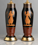 An Outstanding Pair Of Rare Harrach, Bohemian Greek Revival Lamps - Circa 1880