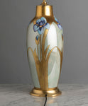 Bavarian Jaeger & Co Art Nouveau Iris Painted Lamp - Circa 1905