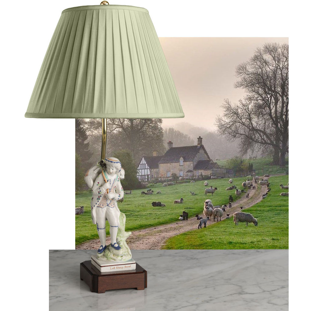 English 19th Century Pearlware Figure Lamp-Lost Sheep Found-Circa 1800