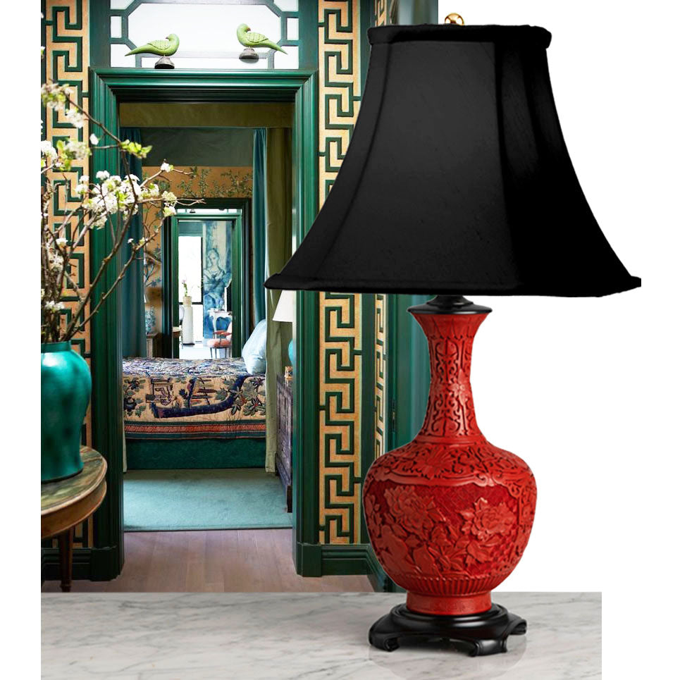 A Vintage Fine Quality, Chinese Red Lacquer Bottle Shaped Lamp - Circa 1950's