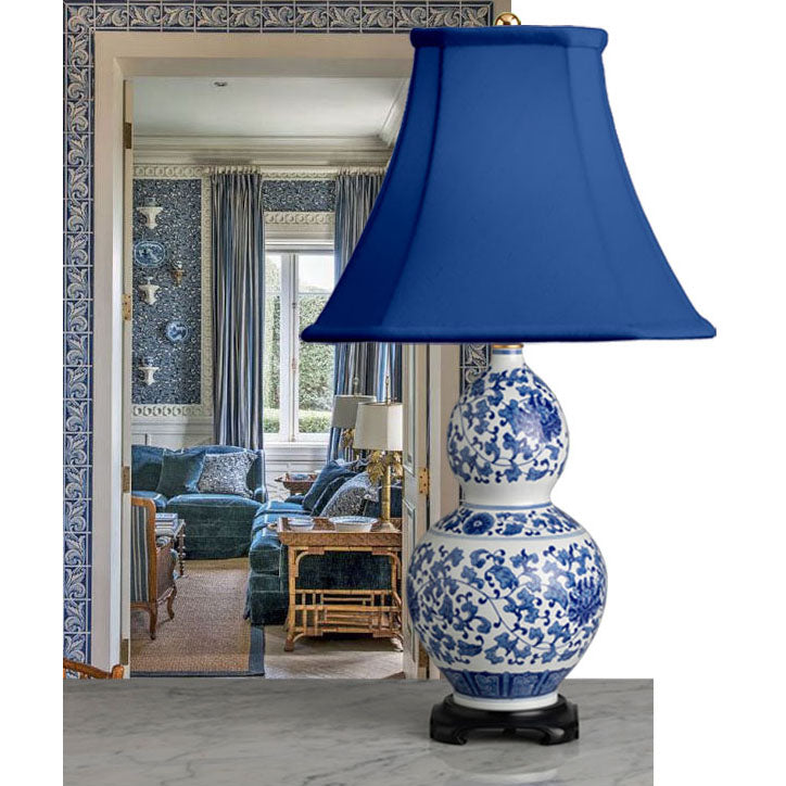 A Tall, Very Decorative Contemporary Chinese Double Gourd Blue & White Lamp