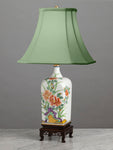 A Very Decorative Vintage Japanese Square Shaped Floral Lamp - Circa 1950's