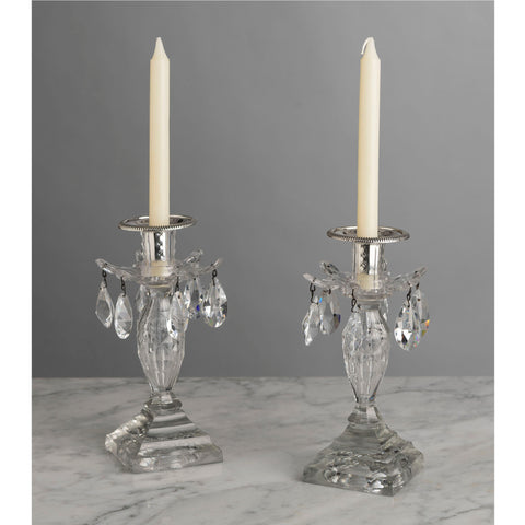H015 A Perfect Pair of 18th Century English Cut Glass Lustre Candlesticks – Circa 1790