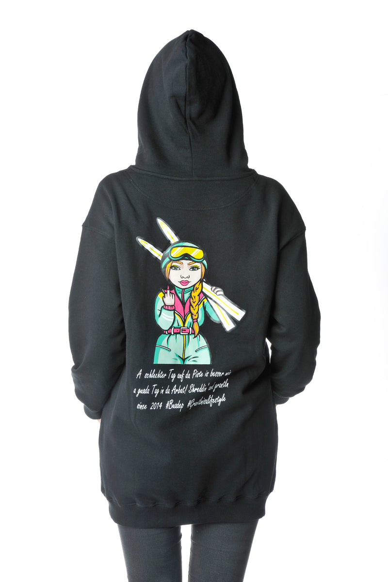 Winter Grantlerin Backprint Hoodie Kleid