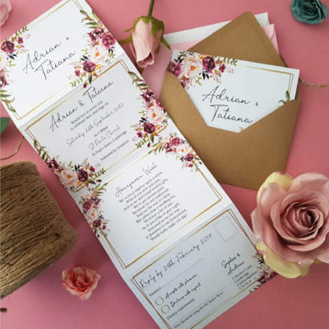 Blush gold summer wedding invitation