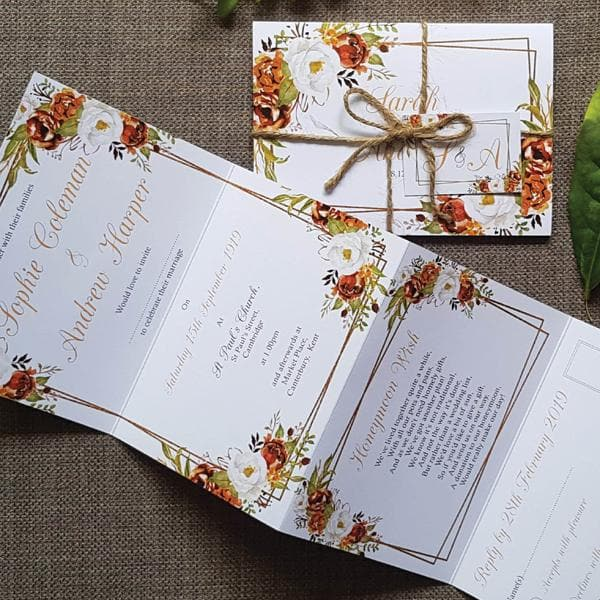 Autumn Copper Wedding Invitation Sample