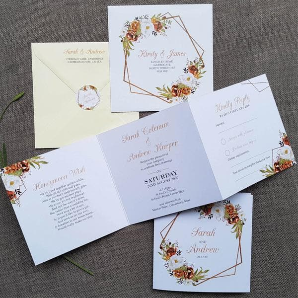 Autumn Roses Geometric Trifold Wedding Invitation Sample