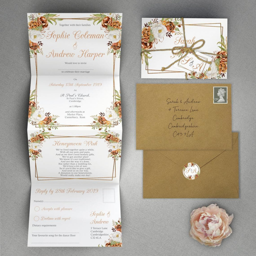 Autumn Copper Concertina Wedding Invitations
