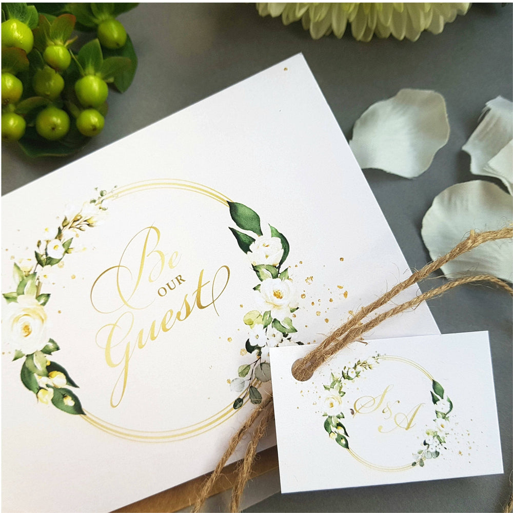 Be Our Guest White Floral Concertina Wedding Invitations Sample , Sienna Mai Personalised Wedding Invitations