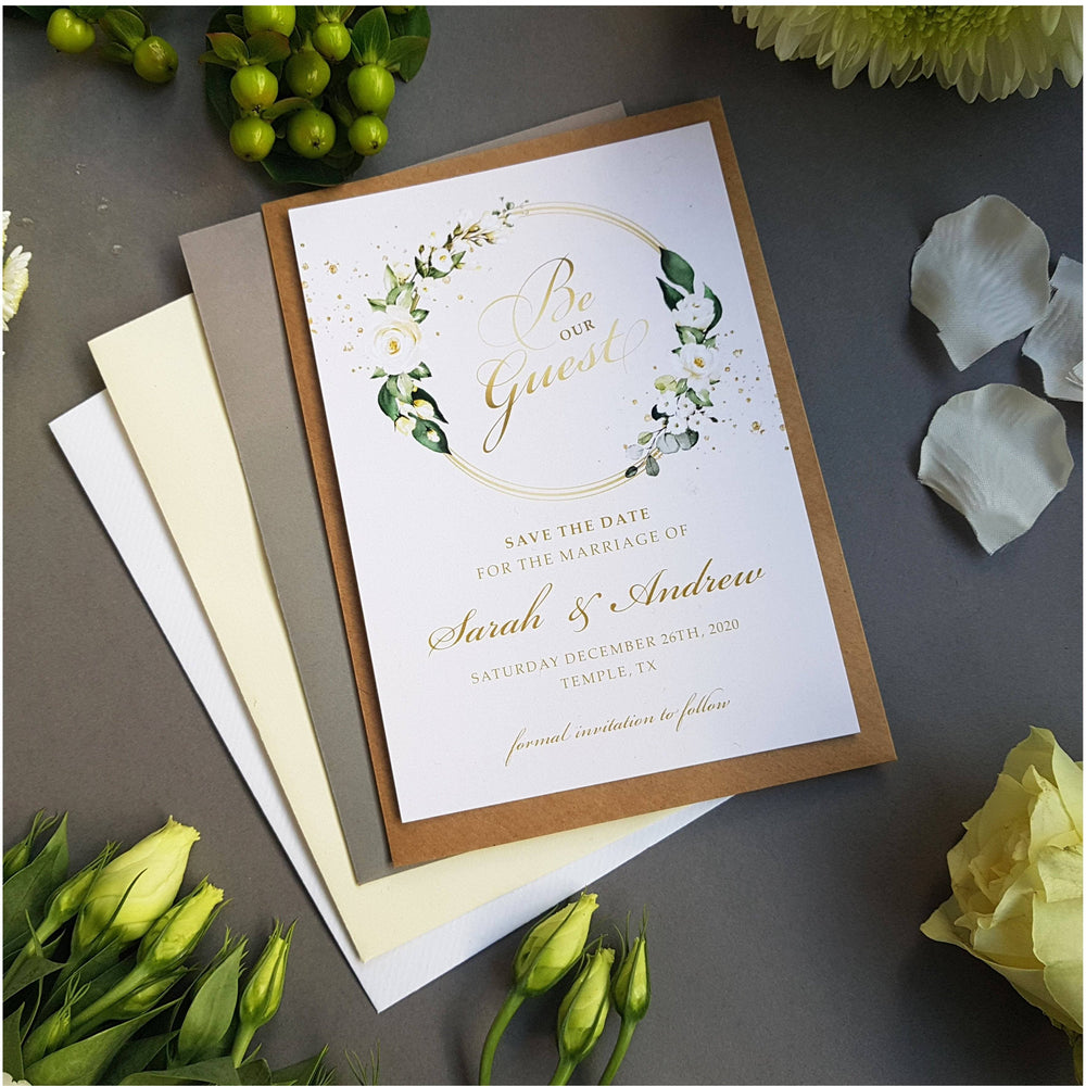 Be our guest white floral save the date cards