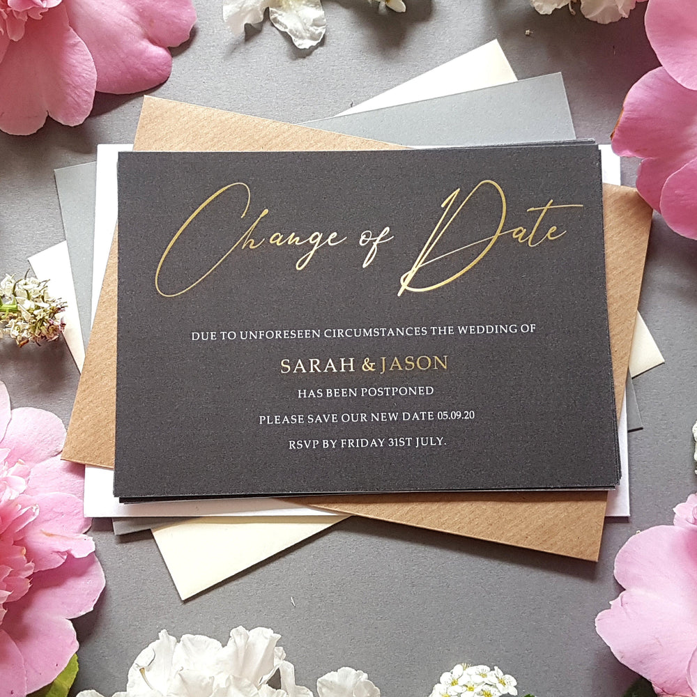 Black & gold change of date cards , Sienna Mai Personalised Wedding Invitations