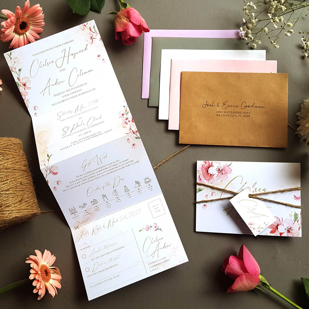 Blossom Concertina Wedding Invitations