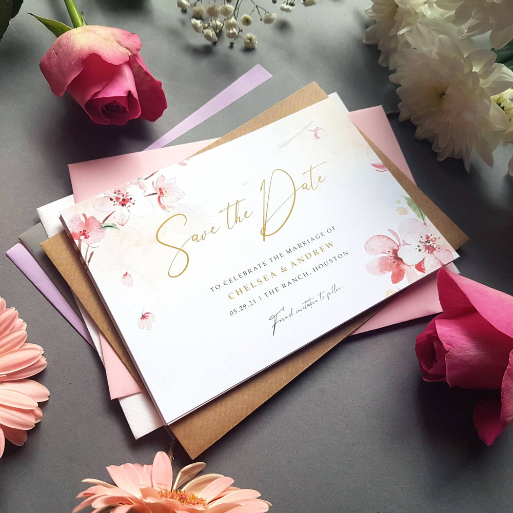 Blossom save the date cards , Sienna Mai Personalised Wedding Invitations