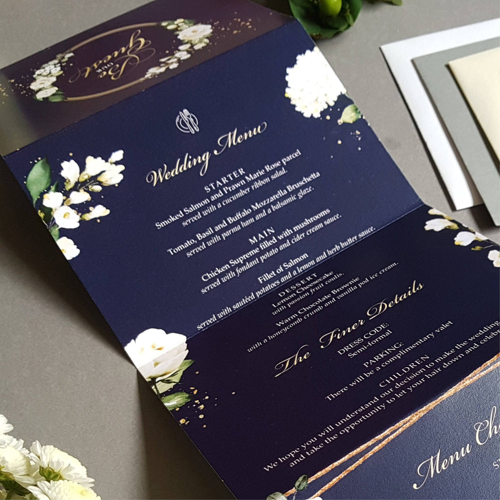 Blue Be Our Guest White Floral Concertina Wedding Invitations , Sienna Mai Personalised Wedding Invitations