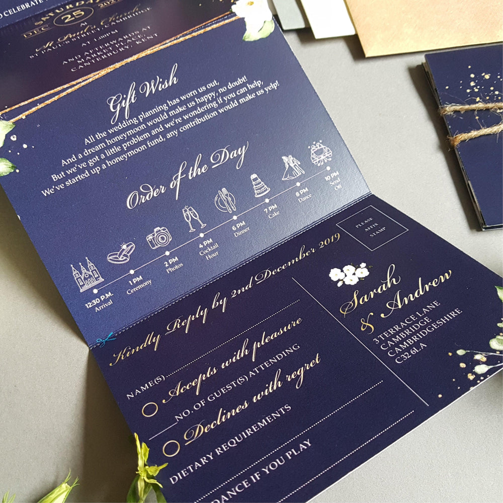Blue Be Our Guest Blue & White Floral Concertina Wedding Invitations , Sienna Mai Personalised Wedding Invitations