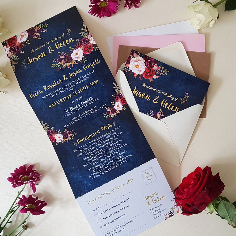 Blue Burgundy Wedding Invitations