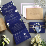 Blue & White Floral Wedding Invitations Sample