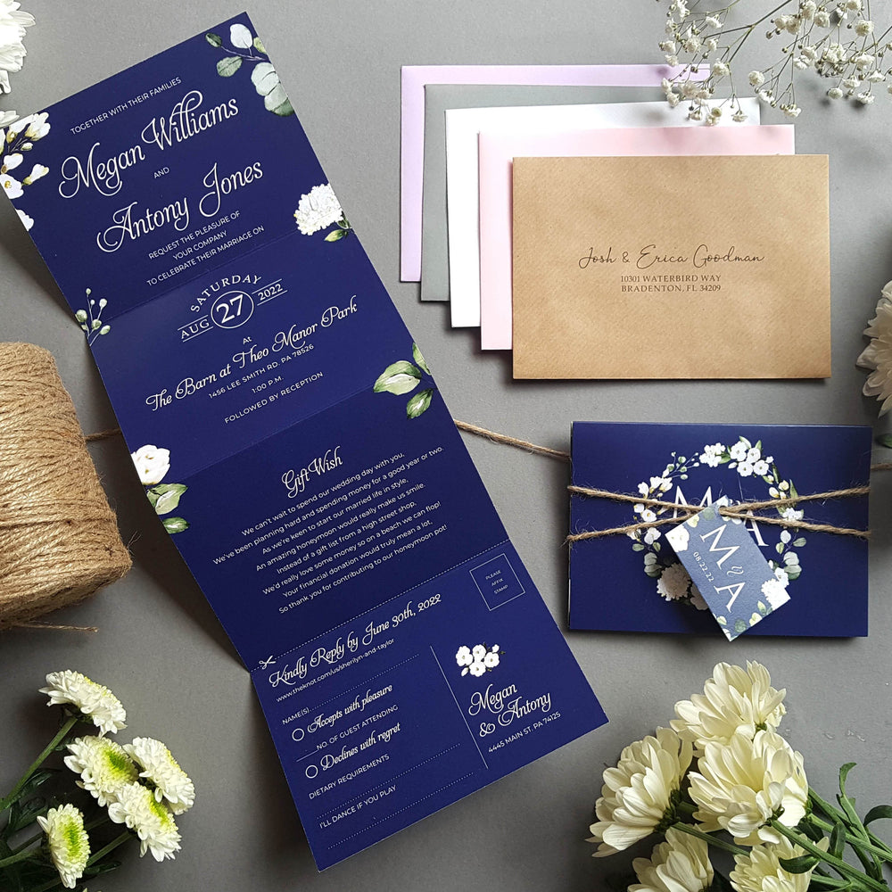 Blue & White Floral Wedding Invitations
