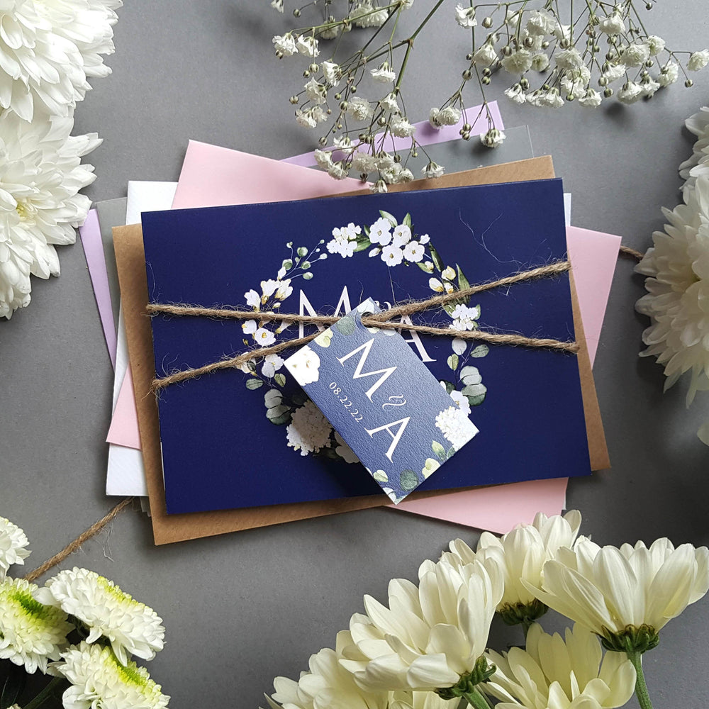 Blue & White Floral Wedding Invitations , Sienna Mai Personalised Wedding Invitations