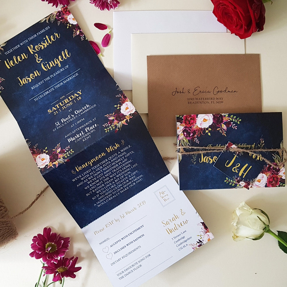 Blue Wild Floral Wedding Invitations