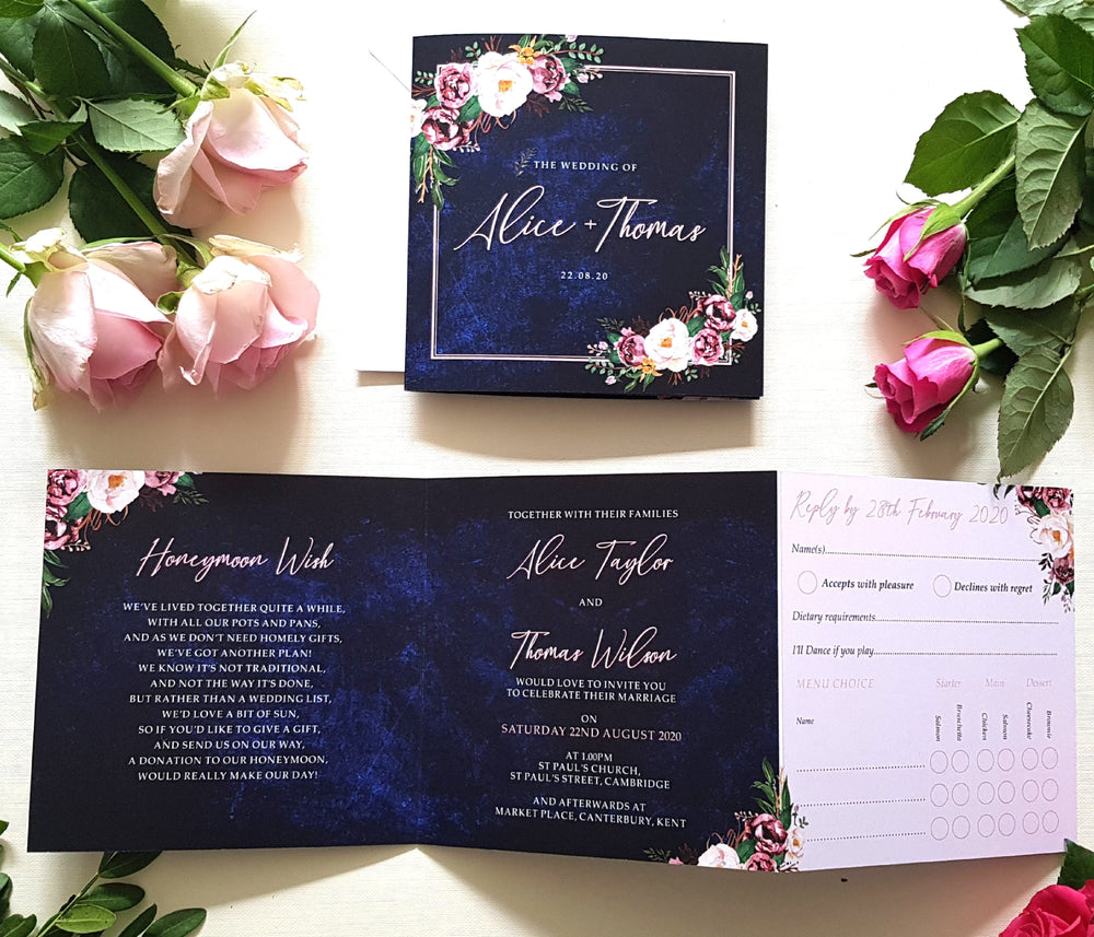 Blush Blue Trifold Wedding and Evening Invitation