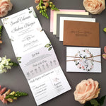 Blush Floral & greenery Concertina Wedding Invitations Sample , Sienna Mai Personalised Wedding Invitations
