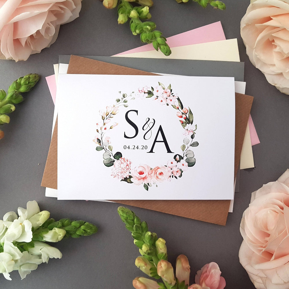 Blush Floral & Greenery , Sienna Mai Personalised Wedding Invitations