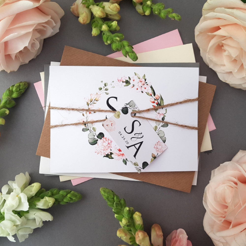 Blush Floral & Greenery Wedding Invitations
