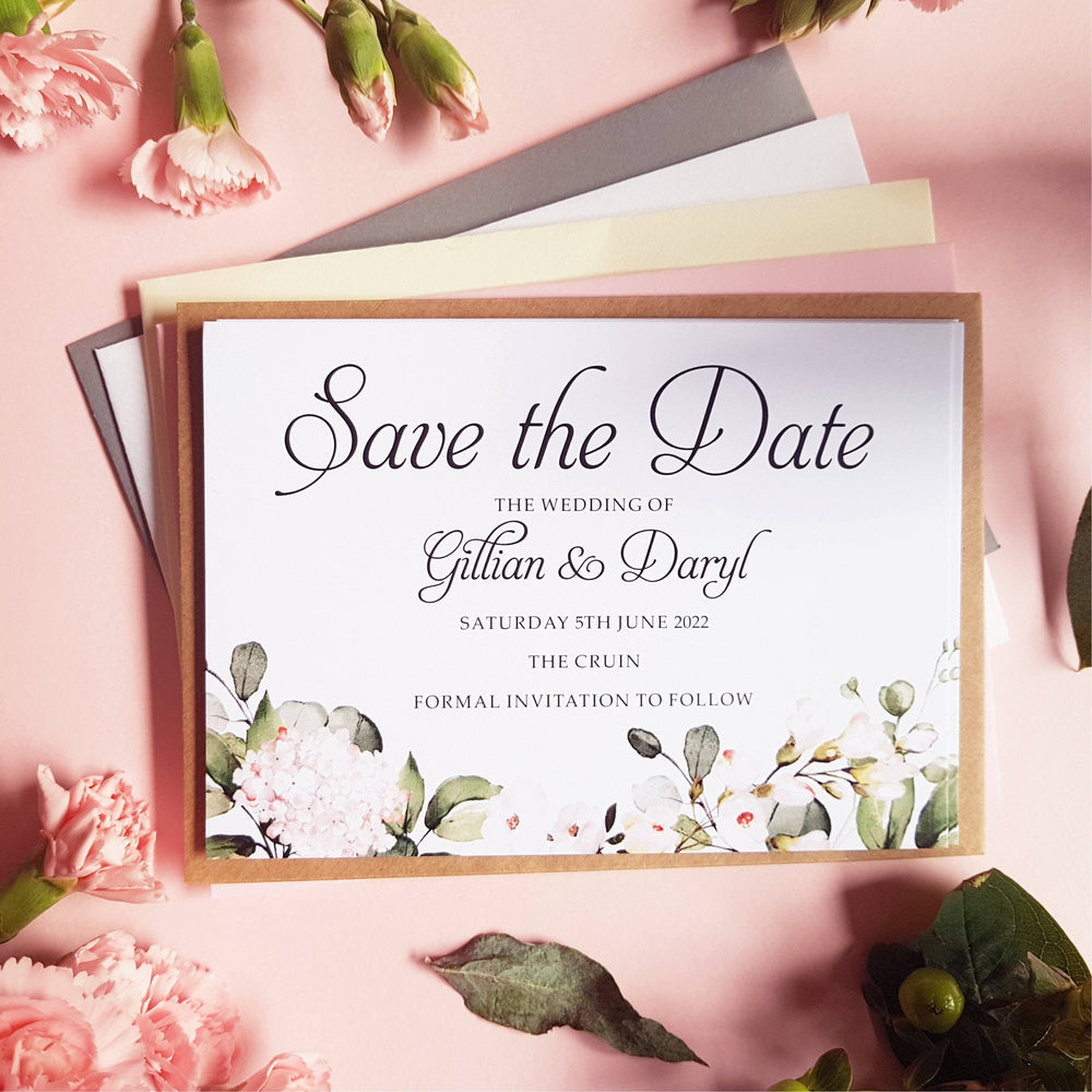 Blush floral save the date cards , Sienna Mai Personalised Wedding Invitations