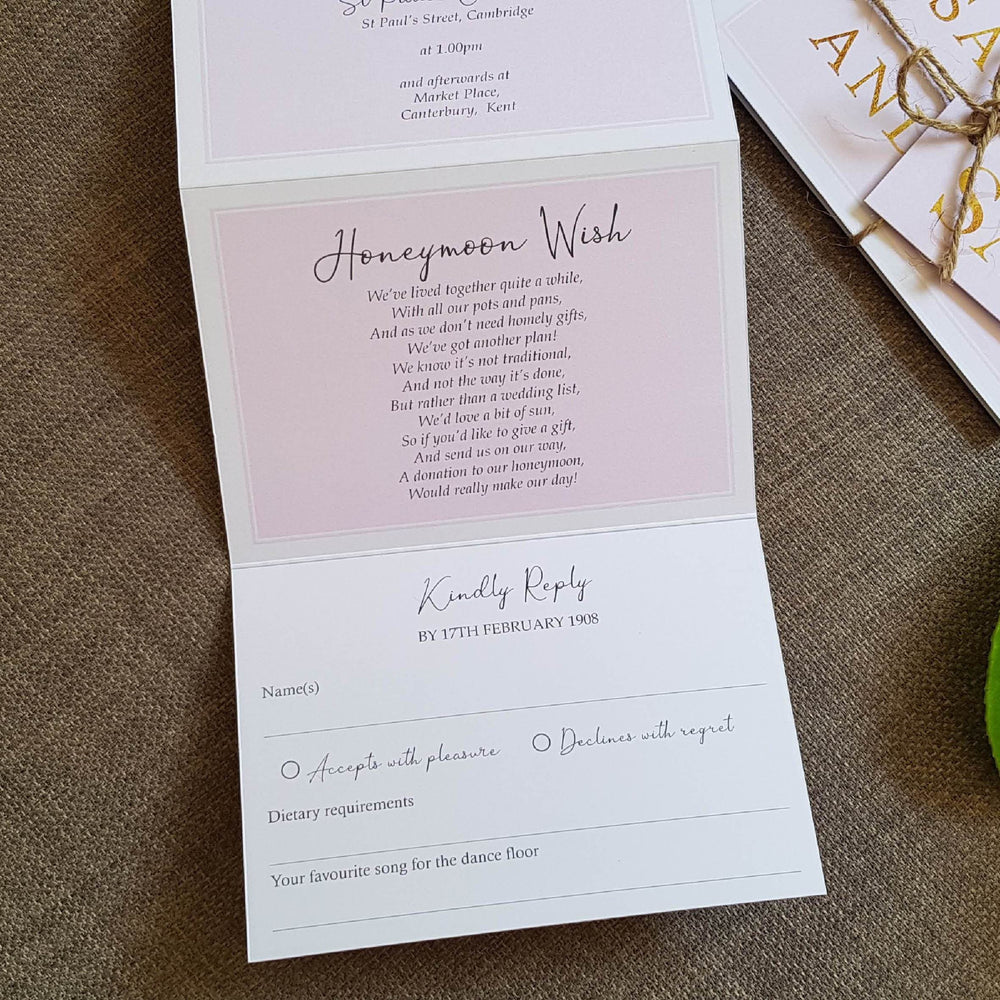 Blush French Script , Sienna Mai Personalised Wedding Invitations