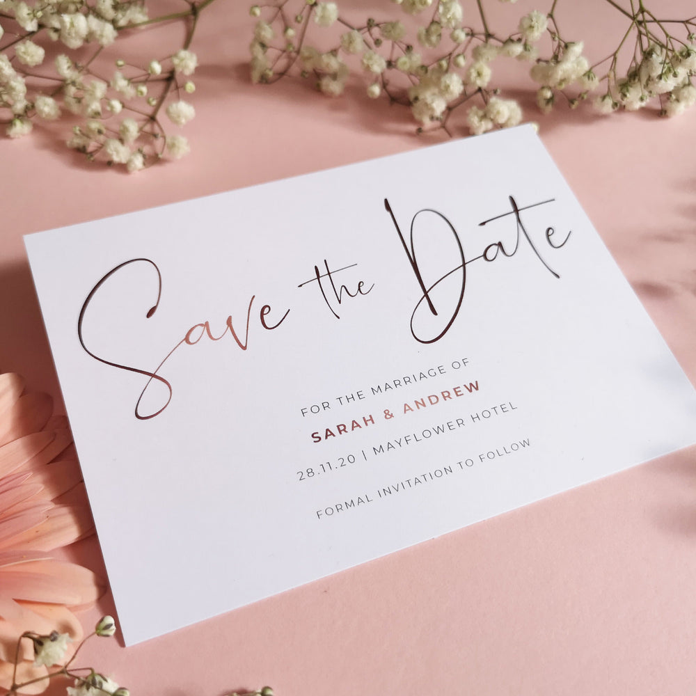 Blush Gold save the date cards , Sienna Mai Personalised Wedding Invitations