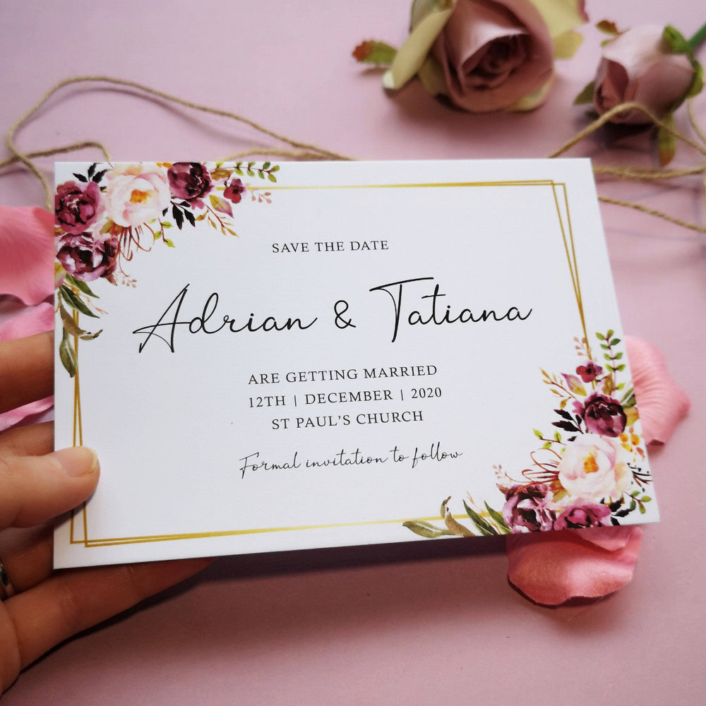 Blush gold save the date cards