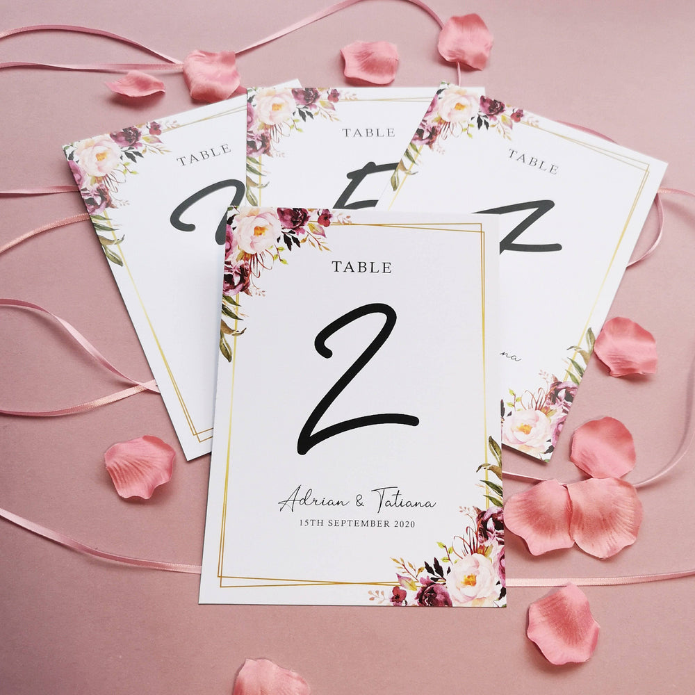 Blush Gold Table Numbers or Names , Sienna Mai Personalised Wedding Invitations